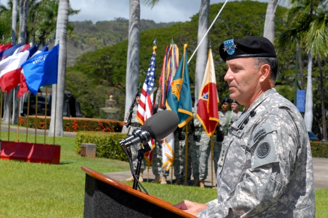 (FORT SHAFTER, Hawaii) - Lt. Gen. Benjamin R. Mixon, commanding general, United States Army, Pacific, speaks to the crowd during the activation ceremony of the 413th Contracting Support Brigade, Sept. 2.