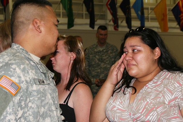 Deployment ceremony tears