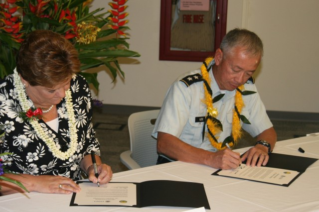 """U.S. Department of Homeland Security Federal Emergency Management Agency Regional Administrator Nancy Ward and Hawaii Civil Defense Director Major General Robert G. F. Lee sign a Memorandum of Understanding (MOU) on Wednesday, Sep. 2nd. The signing formally adopted both Hawaii's All-Hazards Concept Plan (CONPLAN) and Catastrophic Hurricane Operations Plan (OPLAN). The event took place in the Hawaii Civil Defense Media Center in front of reporters, first responders, emergency managers and catastrophic planners at the local, State and Federal level. """"These plans are 'living documents' that will continually be updated,"""" said General Lee. """"They will serves us not only in dealing with hurricanes and other tropical cyclones, but also potential man-made disasters, including terrorism."""" The development and testing of the CONPLAN and OPLAN also represents an """"emergency response first"""" following Hawaii's agreement to be the first state in the nation to engage in a joint planning exercise that fully employs the FEMA Integrated Planning System (IPS), which is scheduled to become a national template for joint federal/state and local disaster planning. (Official JTF-HD Photo by Mr. Darrell Ames)"""