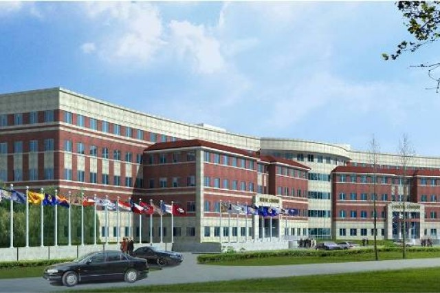 An artist's rendition of the U.S. Army Forces Command/U.S. Army Reserve Command Headquarters Complex under construction at Fort Bragg, N.C. The FORSCOM HQ will begin moving to Fort Bragg in the Fall of 2010 and will continue to do so until early Fall of 2011.