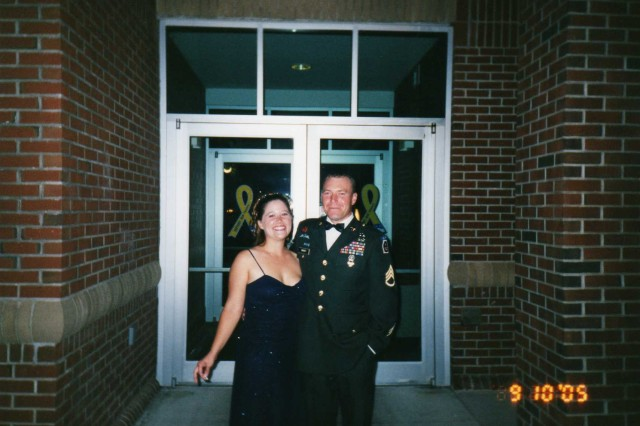 A personal photo of Sgt. 1st Class Jared C. Monti and his date outside of the 2005 Military Ball.