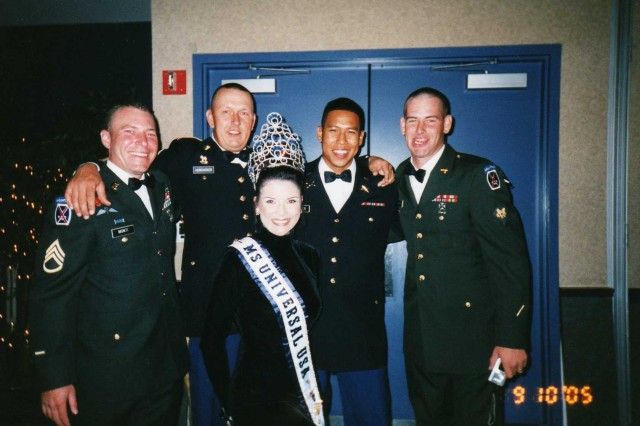 A personal photo of Sgt. 1st Class Jared C. Monti with friends at the September 2005 Military Ball.