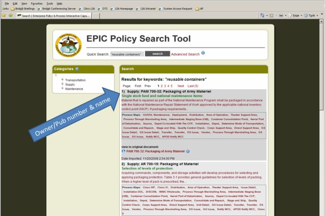 The search results in EPIC come back with basic information, such as owning organization, the regulation number, and title in black, along with the paragraph title in green, and a brief synopsis of the paragraph in red.