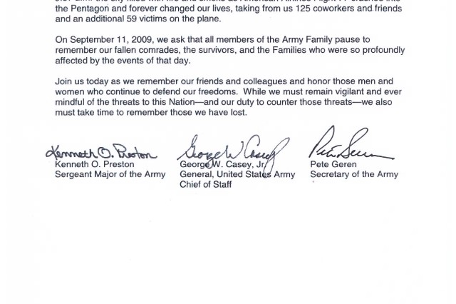 Patriot Day Senior Army Leader Message