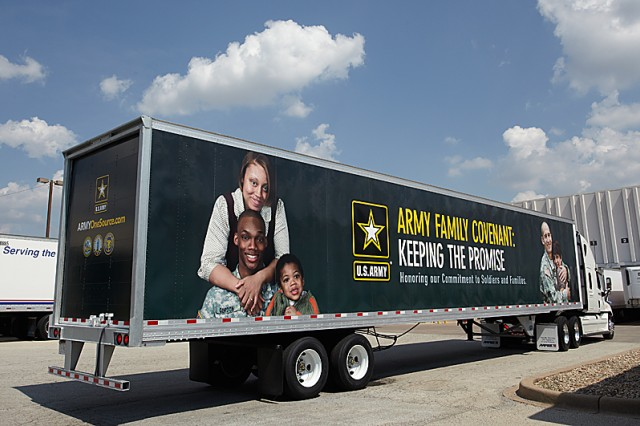The first 18-wheeler truck to display the Army Family Covenant message will head east from Texas to Washington DC  to be displayed at the Armory there during the Army 10-miler registration and exposition.  One hundred AAFES 18-wheelers will become rolling billboards over the next two years.