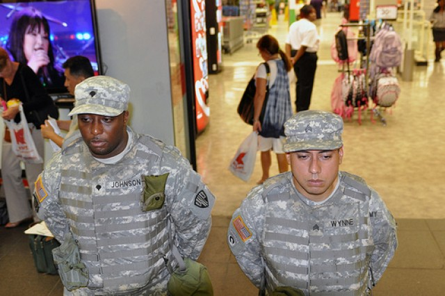 Sgt. Willis Wynne and Spc. Jean Johnson of the New York National Guard patrol at Penn Station in New York City on Aug. 25. The two Soldiers are serving with Joint Task Force Empire Shield, which has been continuously providing military support to civilian authorities since the terrorist attacks of Sept. 11, 2001.
