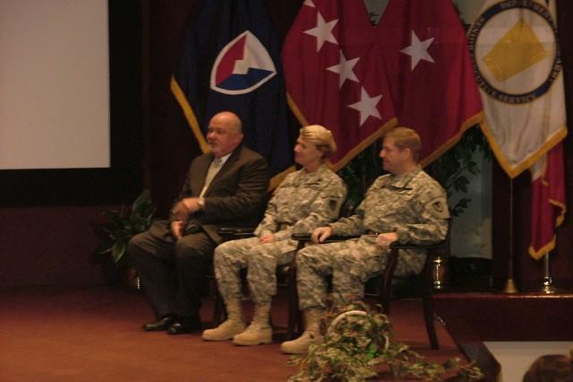 From left to right: Richard G. Alpaugh, Gen. Ann E. Dunwoody, Brig. Gen. Christopher Tucker.