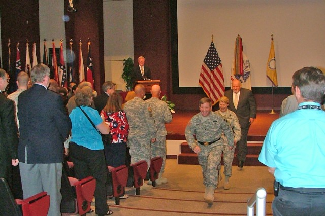 Exit of the official party.Brig. Gen. Christopher Tucker, Gen. Ann E. Dunwoody and Richard Alpaugh.