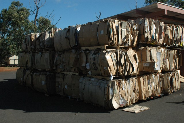 SCHOFIELD BARRACKS, Hawaii - Bales of cardboard await transportation to the processing center at the Recycling Center on Schofield Barracks. Most of the cardboard comes from Army and Air Force Exchange Services.