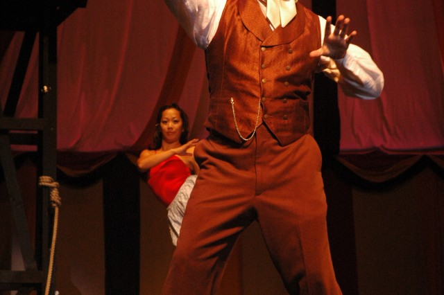 """FORT SHAFTER, Hawaii - Rob Duval plays the master promoter of all things theatrical, P.T. Barnum, in Army Community Theatre's season-opening production of """"Barnum."""" The musical, which began this week at Richardson Theatre, here, continues through Sept. 26."""