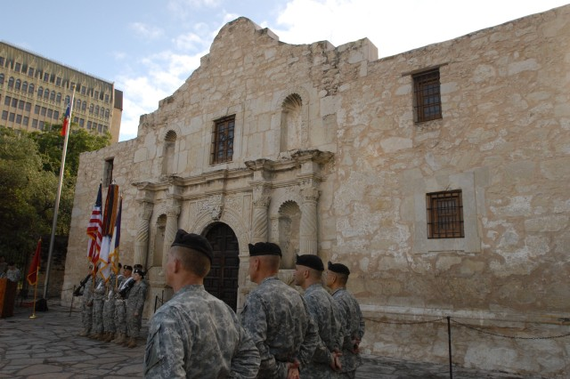 Soldiers from the 321st Civil Affairs Brigade form up outside the Alamo in downtown San Antonio for the unit's change of command ceremony the morning of Sept. 13. The Alamo, an American history landmark, is prominent in the 321's crest. The Army Reserve unit, which is located on Fort Sam Houston, officially welcomed its new commander, Col. Kenneth Moore, and acting command sergeant major, Sgt. Maj. Steve Quinones, during the ceremony while dozens of tourists and visitors to downtown San Antonio looked on. The 321st is part of the U.S. Army Civil Affairs.
