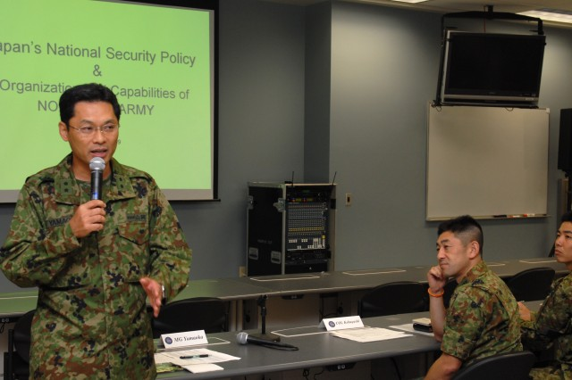 SCHOFIELD BARRACKS, Hawaii - Maj. Gen. Takeo Yamaoka, deputy chief of staff, Northern Army, Japan Ground Self Defense Force, addresses a joint bi-lateral group of senior military leaders during the Yama Sakura 57 Battle Command Seminar, a three day planning conference held in Hawaii in preparation for Exercise Yama Sakura in Japan.