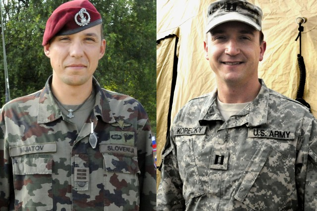 Slovenian Army 1st Lt. Klemen Mijatov (left) and U.S. Army Capt. David Kopecky (right), 173rd Airborne Brigade Combat Team,  were classmates at the West Point Military Academy, Class of 2002.  They reunited during training at the 7th Army Joint Multinational Training Command's Hohenfels Training Area in September.