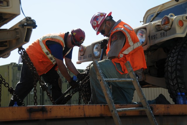 David Jischke, left, and Daniel Rodriguez, right, both employees with Hulchers Service, Kansas City, Mo., tie down unit equipment at Fort Riley's railhead prior to the equipment being transported to the National Training Center at Fort Irwin, Calif. Fort Riley has been using the railway system to transport unit equipment for deployments and training missions for decades. In recent years, however, it has had to compete with other commercial traffic on the Union Pacific Railroad's main line. Currently, Fort Riley's railway system is undergoing a $15 million overhaul, which will add an additional 30,000 square feet of track to expedite equipment transportation. The project is expected to be completed in a year.