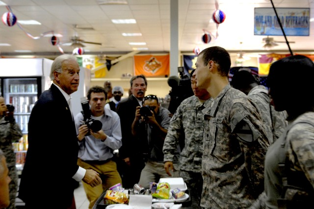 Vice President Joe Biden wishes troops well as he works his way around the room making sure to speak with every individual inside the Pegasus Dining Facility, on Camp Liberty in Baghdad, Iraq, Sept. 17.