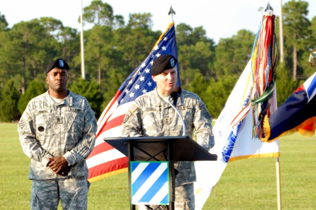 Major General Tony Cucolo, senior commander for Fort Stewart-Hunter Army Airfield, supported by 3rd Infantry Division Command Sergeant Major Jesse Andrews, offers a few remarks before leading this year's Freedom Walk at Cottrell Field, Sept. 10.