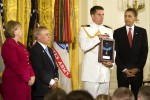 President Obama waits to award Medal of Honor to Sergeant First Class Jared C. Monti's parents