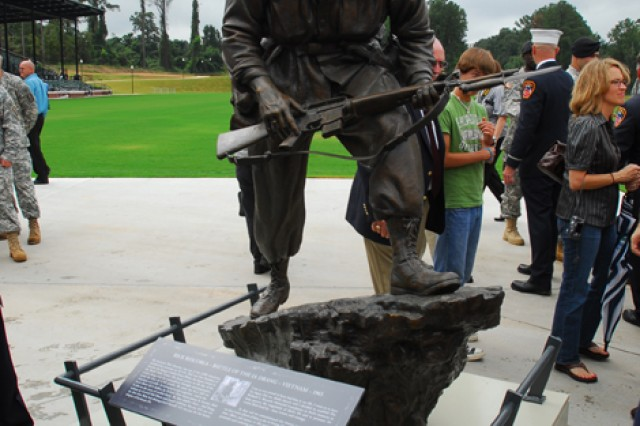 The COL(R) Rick Rescorla statue was unveiled along Heritage Walk at the National Infantry Museum and Soldier Center Thursday. Both the statue and the steel I-beam will be on permanent display outside the museum once the monument is complete next year.
