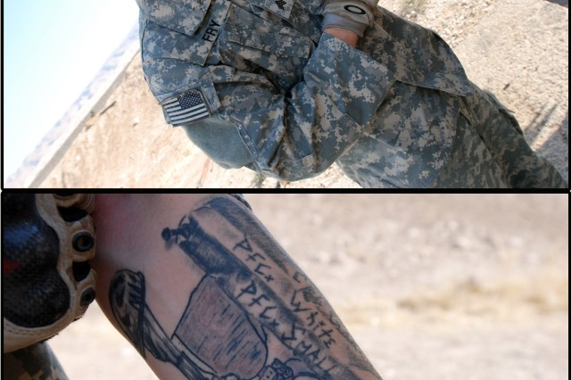 "Sgt. Hugh Fry shows off his memorial sleeve tattoo, which he plans to finish with the phrase ""OEF 07-08,"" mountains to signify the Afghan terrain, and his unit crest. Fry calls the piece ""something to remind me where I've been, and who's been there with me."""