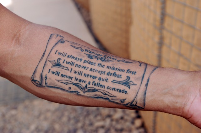 "First Sergeant Aki Paylor, Echo Company, 1st Attack Reconnaissance Battalion, 10th Combat Aviation Brigade, had the Warrior Ethos tattooed on his arm while on leave from his current deployment to Iraq. ""The Army is not just a job; it's a way of life,"" Paylor explained. ""For me, the Warrior Ethos - that's who I am."""