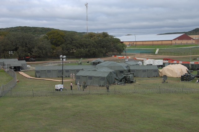 U.S. Army South utilizes its Deployable Joint Command and Control (DJC2) forward command post during Fuerzas Aliadas PANAMAX 09 at Camp Bullis, Texas. PANAMAX is an annual exercise involving military and interagency personnel, joint services and partner nation coalition personnel from various North, Central and South American and European countries focusing on the defense of the Panama Canal.
