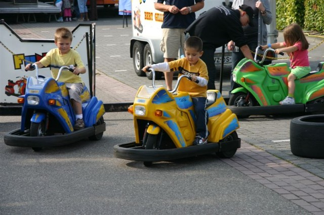 Children enjoyed many rides, games and activities at USAG SchinnenAca,!a,,cs 40th Anniversary Celebration Sept 19. Here, the lane is packed with children on the mini-bumper course.