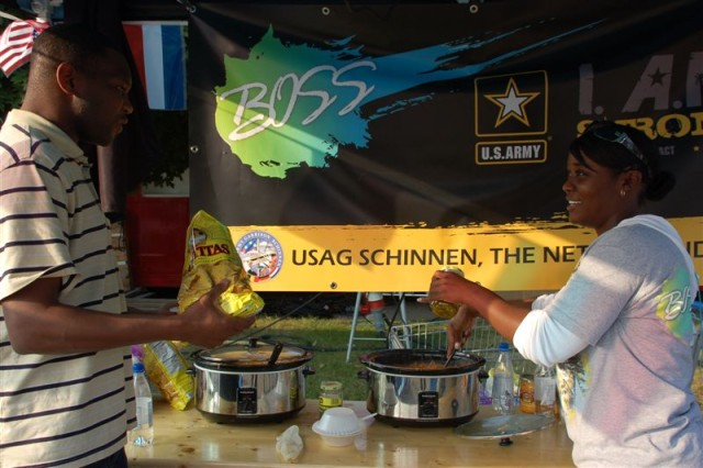 USAG SchinnenAca,!a,,cs Department of the Army award winning BOSS members treated fest participants to some good food. The fest on Sept. 19 included over 35 rides, bands, vendors, re-enactors, booths and other demonstrations.