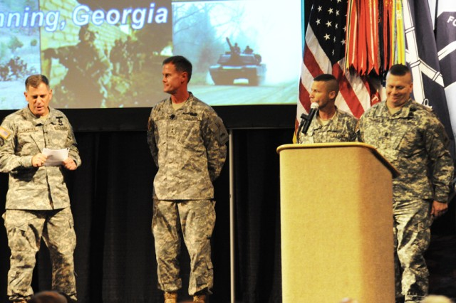 """We're coming home, and we're damn excited about doing it,"" Maj. Gen. Mike Milano said when he took the stage alongside Maj. Gen. Michael Ferriter for the Infantry Warfighting Conference State of the Infantry and Armor address."