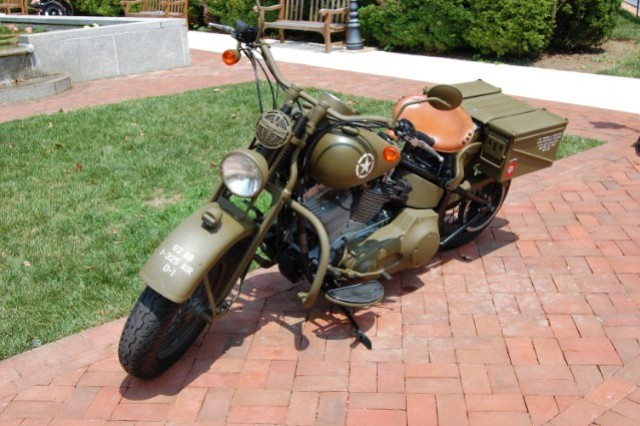 """The Barbieri family of Gaithersburg, Md., built this replica of a World War II era Harley Davidson WLA motorcycle in honor of Spc. Thomas """"T.J."""" Barbieri, a paratrooper with the 82nd Airborne Division's, 2nd Brigade Combat Team, who was killed in Iraq in 2006"""