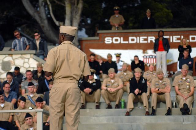 CIDD Monterey Officer in Charge Lt. Cmdr. Leonard Caver speaks to sailors.