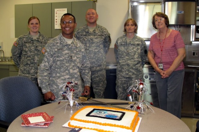 Soldiers and Staff from the Robertson Blood Center at Fort Hood prepare for the Army's birthday and World Blood Donor Day activities.