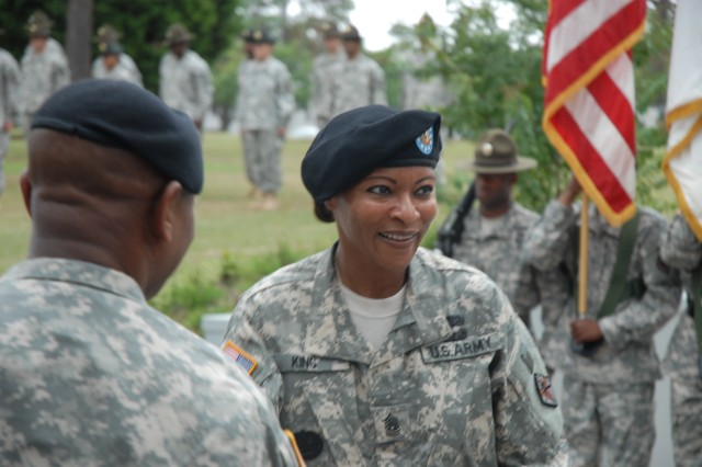 Command Sgt. Maj. Teresa King, shown here during a change of responsibility ceremony in front of Fort Jackson post headquarters, takes over as commandant of the Drill Sergeant School, making her the first woman to hold the position.
