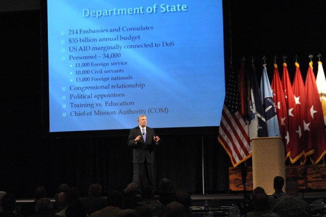 Ex-Ambassador at Large Dell Dailey gave an hourlong presentation and answered questions from the audience to kick off the final day of the Infantry Warfighting Conference at the Columbus Iron Works Convention and Trade Center.