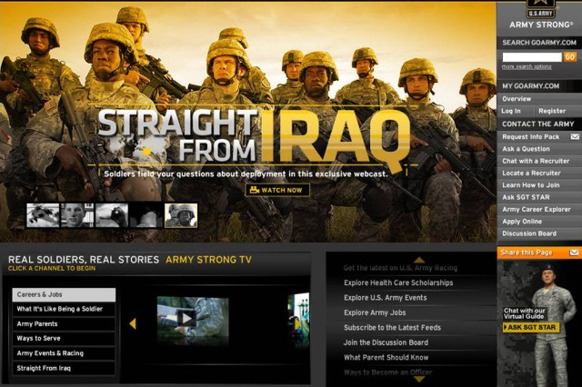 """Screen capture of the """"Straight from Iraq"""" online feature at www.GoArmy.com.  The """"Straight from Iraq"""" campaign was awarded top honors in the Aca,!A""""Idea for New Product or New ContentAca,!A? at the 2009 Jay Chiat Awards."""