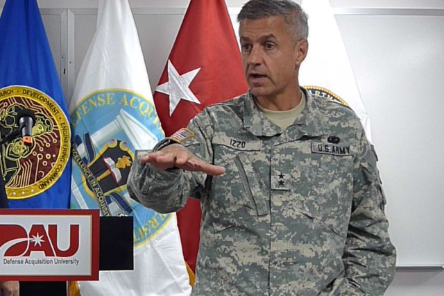 Research, Development and Engineering Command Commander Maj. Gen. Paul S. Izzo delivers a keynote speech to a group of Defense Acquisition University students at Aberdeen Proving Ground.