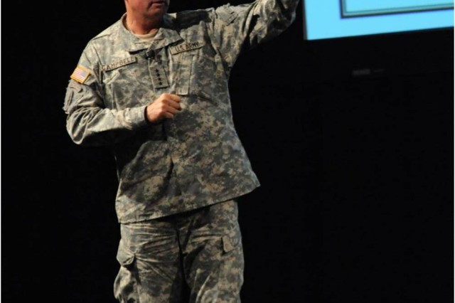 """Gen.  Charles Campbell, Commander of U.S. Army Forces Command, discussed the two """"great epiphanies"""" of the Army after the Iraq War during day two of the Infantry Warfighting Conference."""