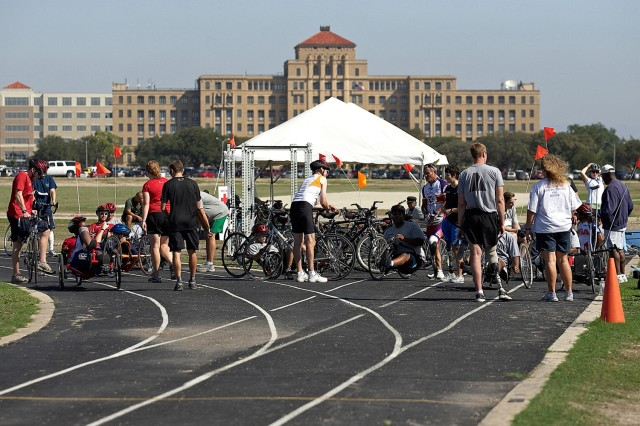 Participants prepare for action at the Paralympic Military Sports Camp at Fort Sam Houston held Sept. 16 to 19.