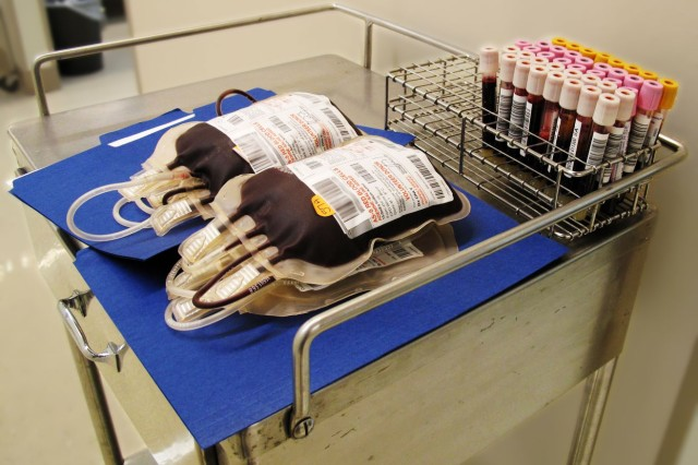 """Units of blood collected during the 69th ADA Blood Drive at the Robertson Blood Center at Fort Hood, Texas on September 18, 2009."""""""