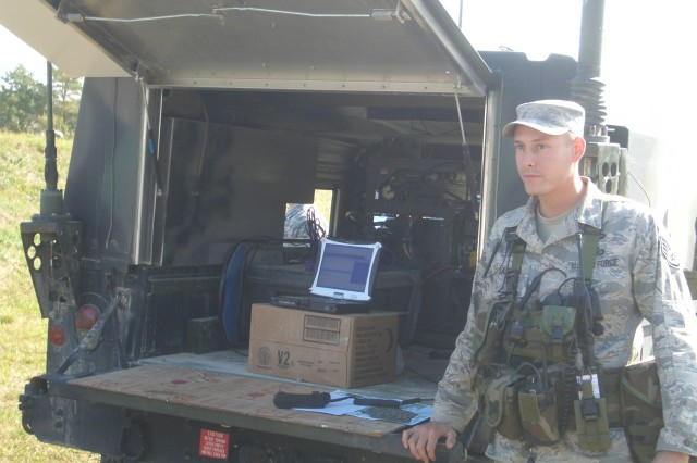 Air Force Staff Sgt. Brian Jackson, U.S. Air Force Europe, Warrior Preparation Center Detachment 2, showcases the Advanced Tactical Aircraft Simulation during a demonstration. ATAS provides the capability for Joint Terminal Attack controllers and Joint Fires observers to call-in simulated air assets when actual air support is not available in training situations.