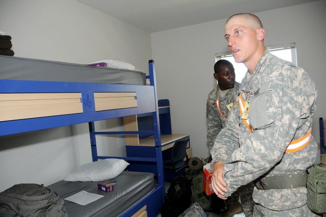 The Ordnance School operations at Aberdeen Proving Ground, Md. are beginning to wind down as construction at the school's new location at Fort Lee continues at a rapid pace. However, neither has stopped the institution from fulfilling its mission to train ordnance Soldiers. The Ordnance School transported the first wave of ordnance advanced individual training Soldiers here Sept. 23 to begin training at the school's $700 million campus. Photo by T. Anthony Bell, Fort Lee Public Affairs