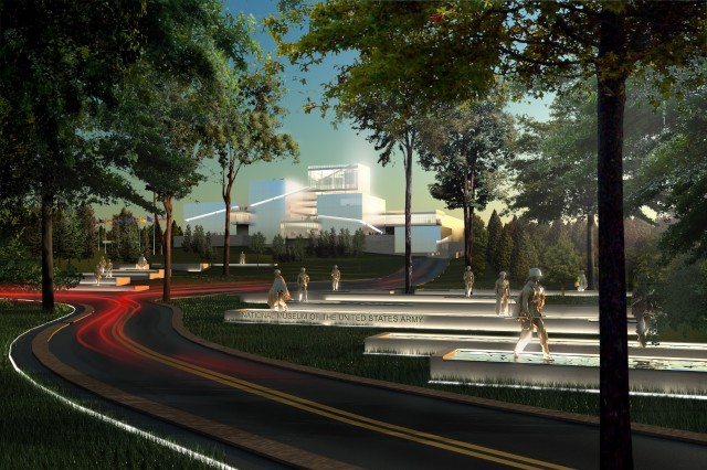 A new conceptual rendering of the approach to the National Museum of the U.S. Army, to be built next year at Fort Belvoir, Va., was released made public.