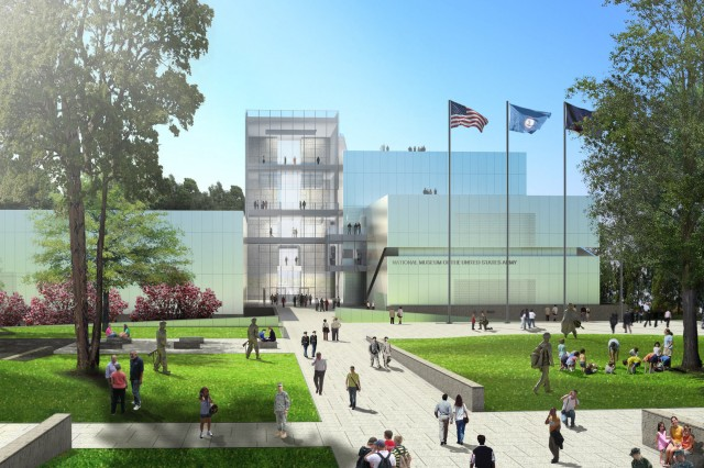 A new conceptual rendering shows the main entrance, lobby, observation tower and adjacent amphitheater for the National Museum of the U.S. Army.