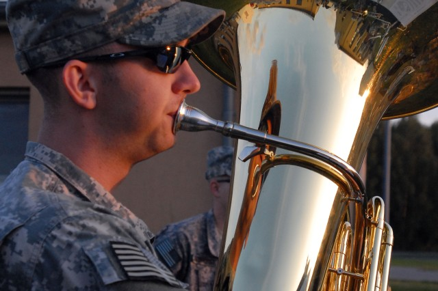 Sgt. Jason Lacy, 1st Armored Division Band, has played the tuba for 10 years. He said joining the Army was a good opportunity to make a difference while being a professional musician. Lacy is from Nederland, Texas, and will deploy for the first time to Iraq later this year.