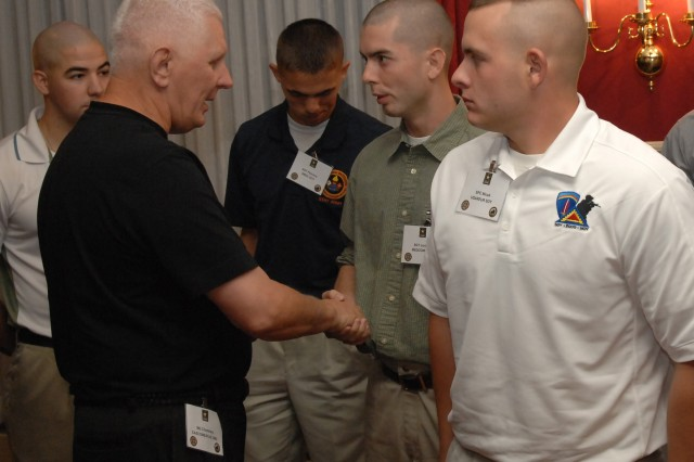 Maj. Gen. James E. Chambers, Combined Arms Support Command, Sustainment Center of Excellence and Fort Lee commanding general, welcomes Sgt. Jonathan Jordan, U.S. Army Medical Command's Soldier of the Year, to the 2009 Department of the Army Best Warrior Competition at Fort Lee, Va.