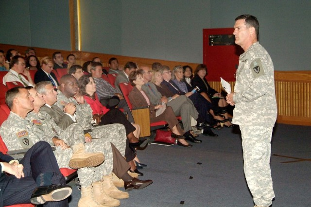 As part of a wide-ranging Town Hall Meeting, Maj. Gen. Randolph P. Strong, commander of the CECOM Life Cycle Management Command, spoke about his command philosophy. He strives to be approachable and has an open door policy for staff and subordinates.