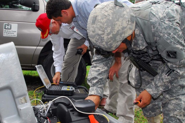 Field Force Engineering Program team members set up the TeleEngineering Communications Equipment - Deployable system.