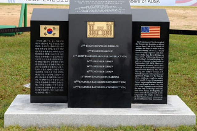 A monument was unveiled Sept. 28 to recognize the U.S. Army engineer units that restored the bridges over the Han River during the Korean War.