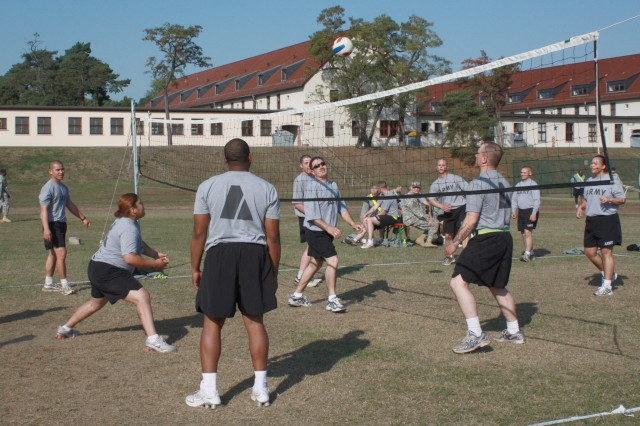 Soldiers enjoy a game of volleyball during the Coleman Barracks Health and Dental Clinic's health Fair in Mannheim, Germany, Sept. 25.