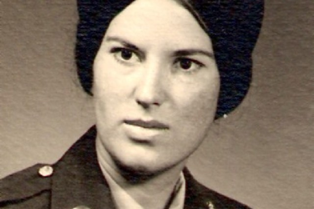 Pat Riley's official Army portrait, taken at Fort Benjamin Harrison, Ind., after she enlisted in the Women's Army Corps in 1973.