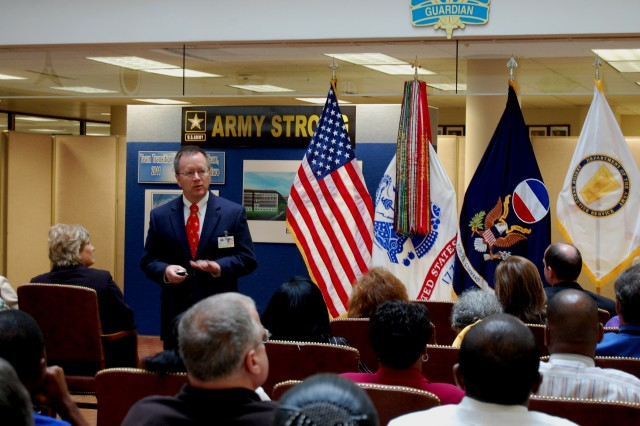 Grant Steffan, Base Realignment and Closure Program Manager,  U.S. Army Forces Command, addresses members of the FORSCOM civilian work force during a Sept. 28, 2009 BRAC Town Hall meeting.  FORSCOM will move from Ft. McPherson, Ga. to Ft. Bragg, N.C. not later than Sept. 15, 2011.  ""